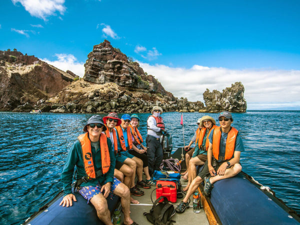 Guests on a panga ride in the Galapagos islands.