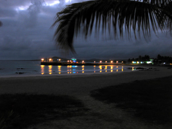 View of Puerto Ayora at night time.