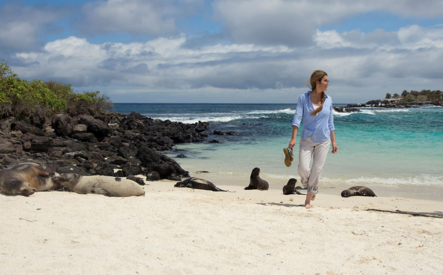 Woman on a beach in the Galapagos Islands
