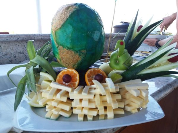 Earth cantaloupe by Santa Cruz Cruise's crew.