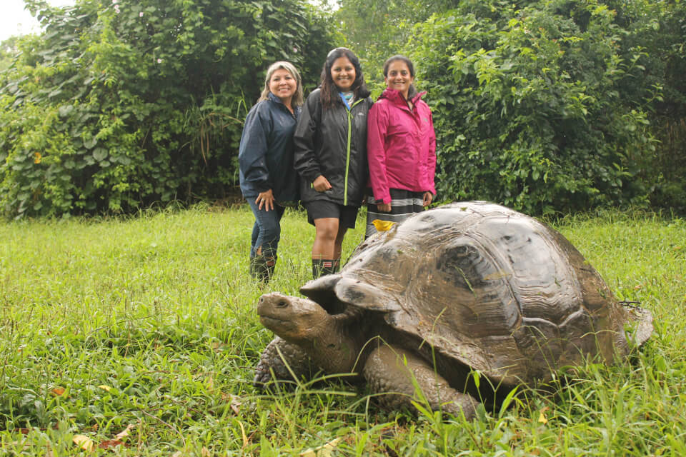 Guests with a Galapagos giant tortoise.