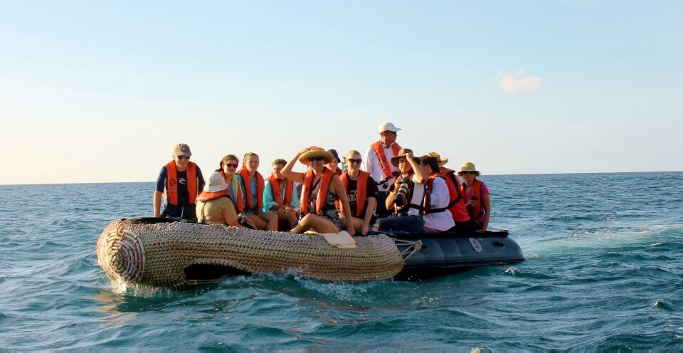 Santa Cruz's guests on a panga.