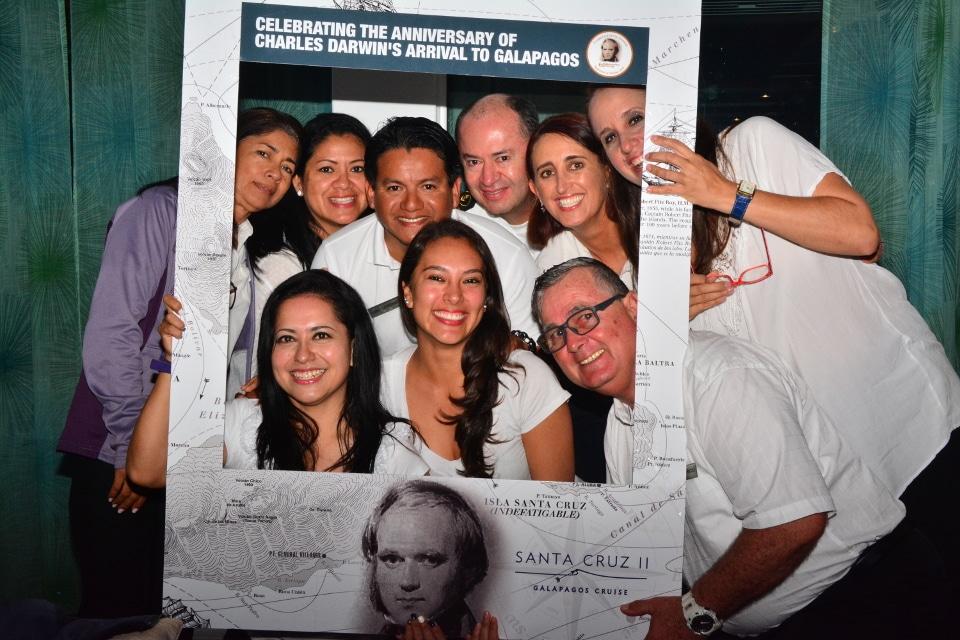 Commemorating Darwin's visit to Galapagos aboard Santa Cruz II Cruise.