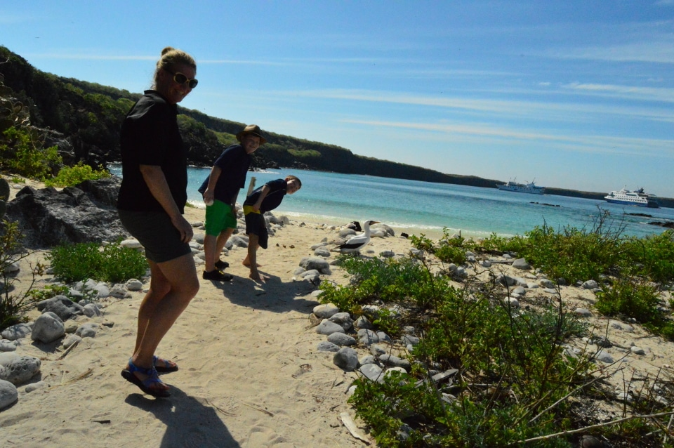 Family exploring Genovesa Island aboard Santa Cruz II Cruise