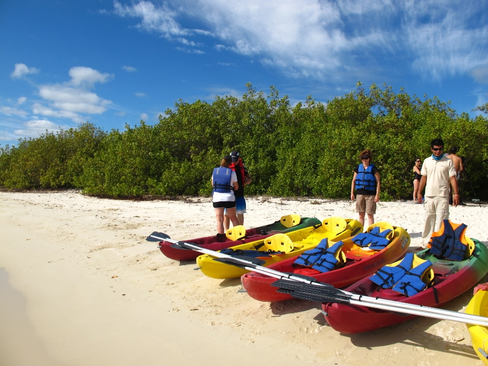 Guests getting ready for kayaking in Galapagos.
