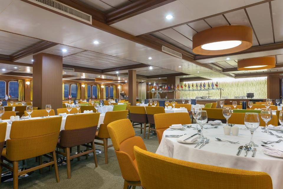 Dinning room aboard Santa Cruz II Galapagos Cruise.