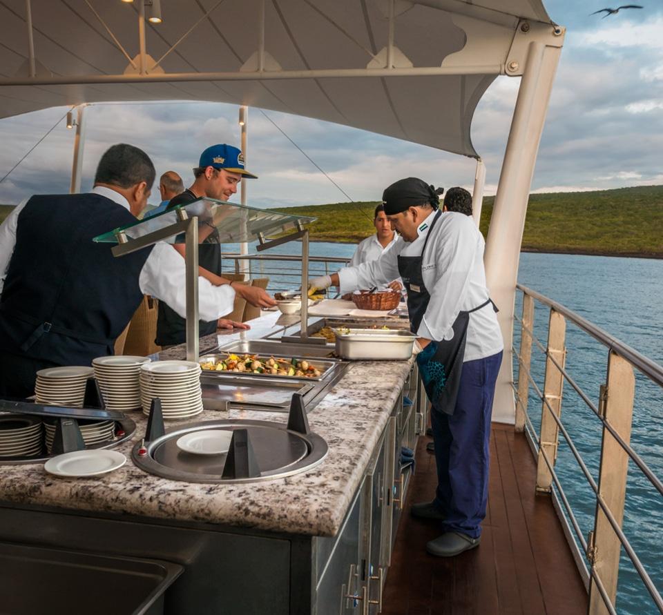 Lunch aboard the Santa Cruz II Galapagos Cruise.