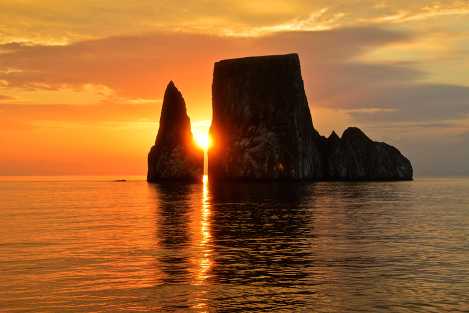 Sunset at Kicker Rock in Glapagos.