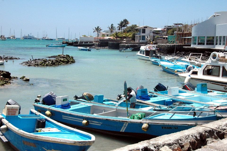 View of Puerto Ayora's port, in Galapagos