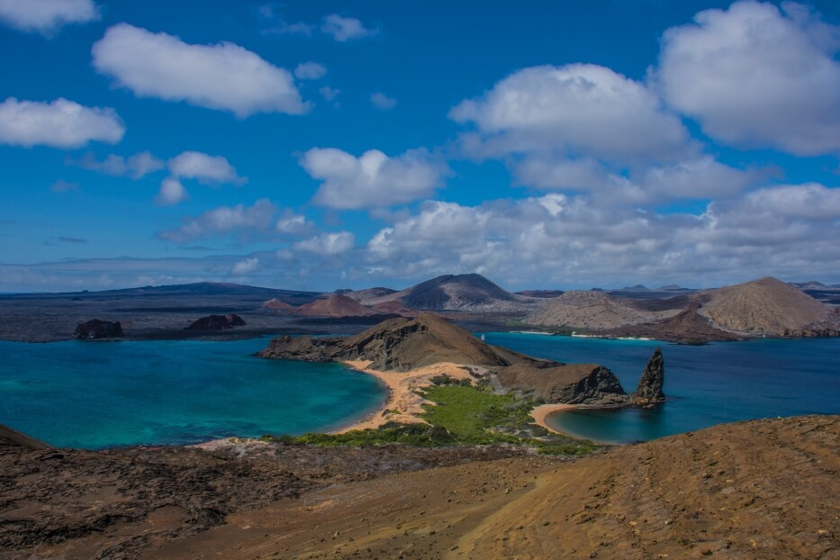 The view from the highest point of Bartolome Island.