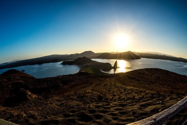 Bartolome Island Galapagos at sunset