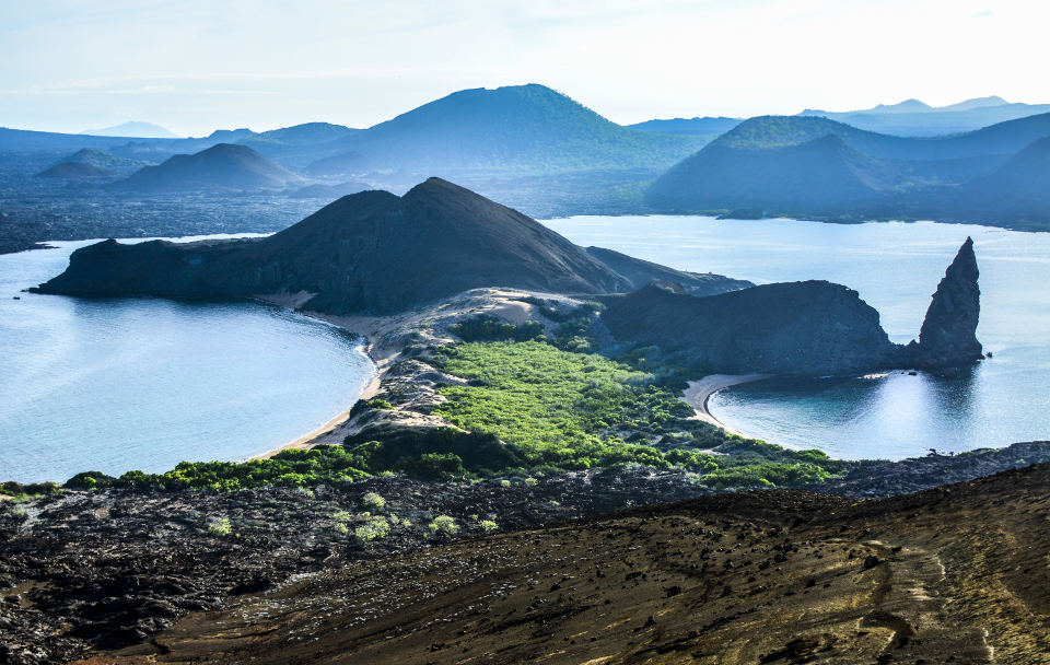 Bartolome Island becomes green with the hot season.