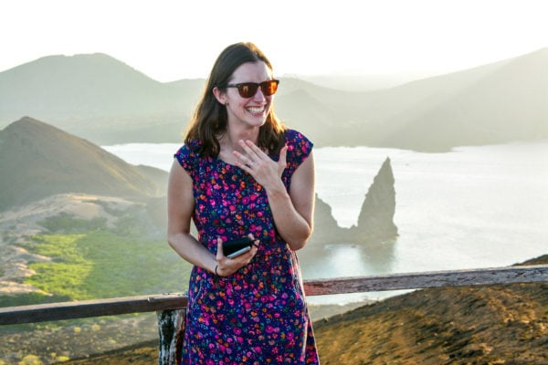 A happy woman that got engaged at Bartolome Island during an excursion.