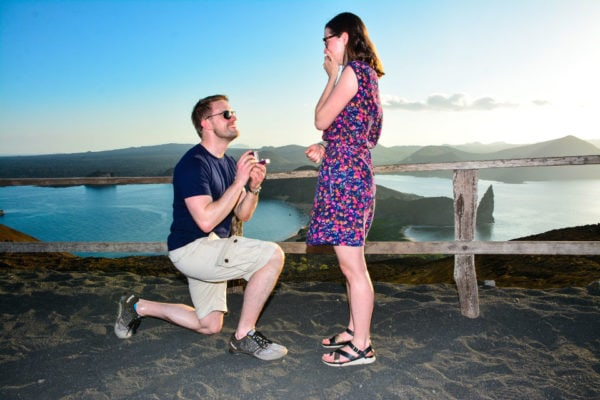Couple getting engaged in the Galapagos Islands
