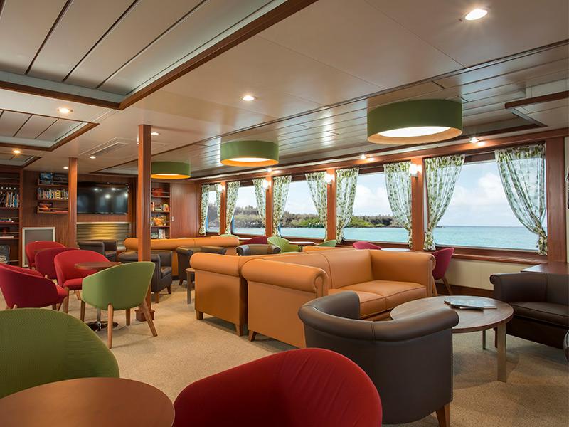 Library aboard Santa Cruz II Galapagos Cruise.