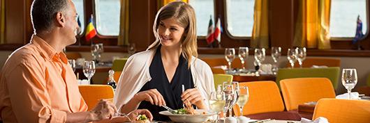 Beagle restaurant at the Ocean deck aboard Santa Cruz II Galapagos Cruise.