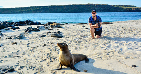 Encounter with sea lions through the Santa Cruz II's Eastern Galapagos Itinerary.
