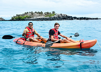 Practice kayaking through our Eastern Galapagos Itinerary.