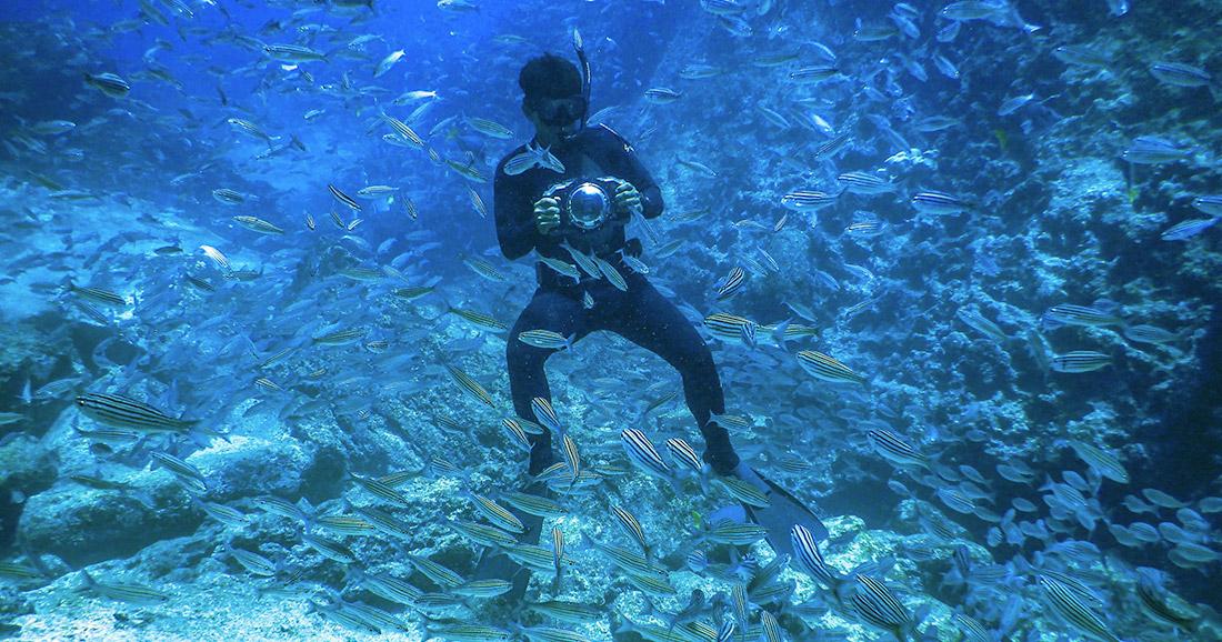 Snorkeling at Bucaneer Cove in Galapagos.
