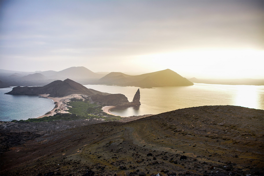 View from the highest point of Bartolome Island