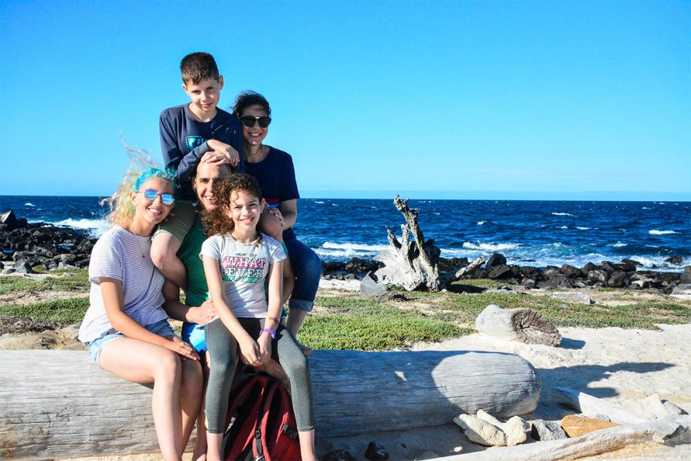 A family exploring Galapagos aboard Santa Cruz II cruise