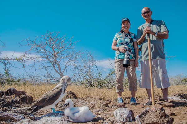 Couple with blue-footed boobies