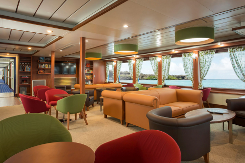 Library aboard Santa Cruz II Galapagos Cruise