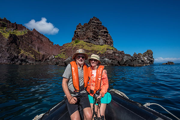 Couple posing near Santiago Island